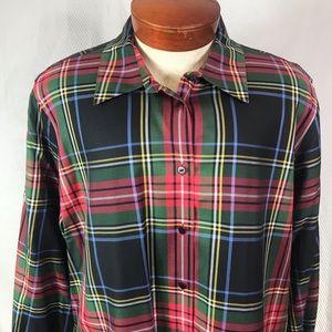 Foxcroft Women's Sz 22W Plaid Button Front Shirt